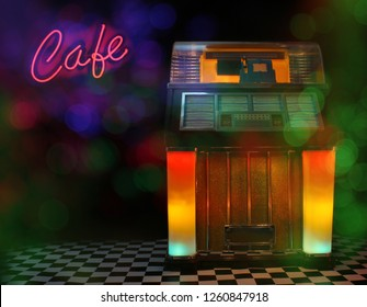 Jukebox in Cafe with  Bokeh
