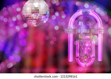 Jukebox With Disco Ball Background