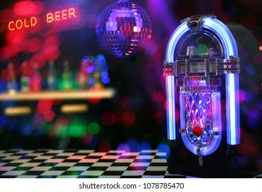 Jukebox with Neon Cold Beer Sign. Miniatures with signs and lights added in post.