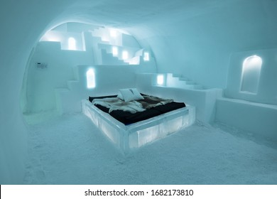 JUKKASJARVI, SWEDEN - MARCH 16 2020: Beautiful Art Suite, individually themed and hand carved by an artist in the Ice Hotel 365 in Jukkasjarvi near Kiruna in Sweden