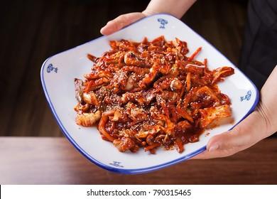 jukkumi bokkeum is korea traditional webfoot octopus with vegetable stir fry