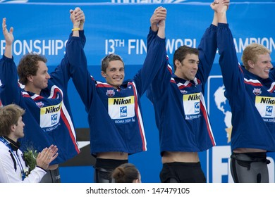 Jul 02 2009; Rome Italy; Team USA during the medal ceremony for  the mens 4 x 100m medley final at the 13th Fina World Aquatics Championships held in the The Foro Italico Swimming Complex.