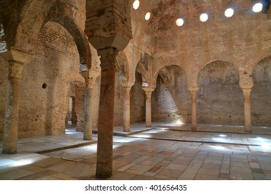 JUL 13, 2015: Moorish architecture of the Arabian baths in Granada, Andalusia, Spain