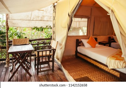 JUL 13,2013 Kanchanaburi, Thailand - Luxurious camping resort in nature forest, glamping vacation in tropical asian country
