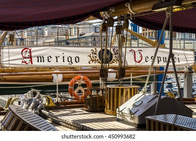 """Jul, 2016 - Naples, Italy: The """"Amerigo Vespucci"""" is a vessel named after the explorer. This old vessel is used today as school ship of the Italian """"Marina Militare"""".This year is possible to visit it."""