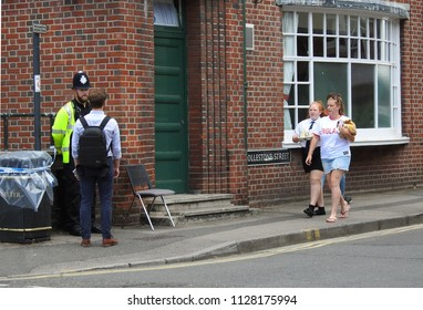 Jul 5 2018 Salisbury UK A homeless hostel home to Dawn Sturgess 1 of the victims of the latest novichok poisoning has been evacuated The photo was taken just before the road was closed to the public