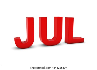 JUL Red 3D Text - July Month Abbreviation on White