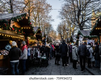 """Jul i Vinterland, Oslo, Norway, 22 November 2017 - (Christmas in Winterland) is a magical Christmas universe right in the center of Oslo, around the ice skating rank """"Spikersuppa"""" next to Karl Johans"""