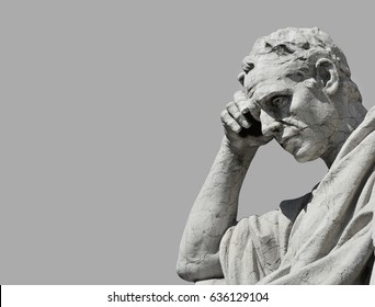 Julian the jurist statue in the act of thinking, from Old Palace of Justice in Rome (Black and White with copy space)