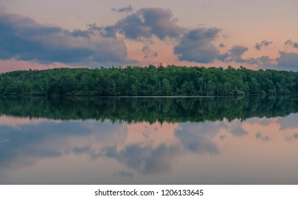 Julian Price Memorial Park, North Carolina, USA - June 14, 2018: Sunset at a lake in Julian Price Memorial Park National Park