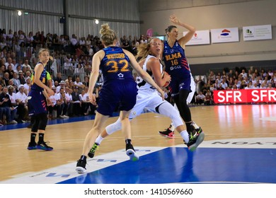 Julie Allemand of Lyon, Samantha Whitcomb, Helena Ciak of Montpellier during Women's French championship Final game 5 basketball Lyon ASVEL vs Montpellier on 5, 23, 2019 Mado Bonnet Hall Lyon France