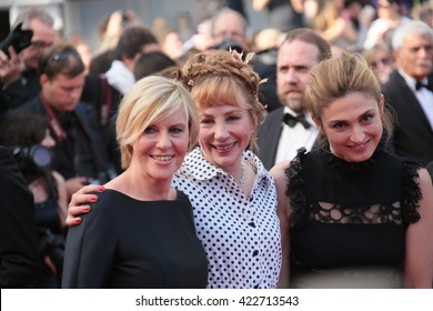 Julie Depardieu, a guest and actress Julie Gayet attend 'The Unknown Girl (La Fille Inconnue)' Premiere duirng the  Cannes Film Festival at Palais des Festivals on May 18, 2016 in Cannes, France.