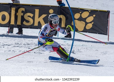 JULIEN LIZEROUX FRA takes part in the RACE run for the men´s Slalom race of the FIS Alpine Ski World Cup Finals at Soldeu-El Tarter in Andorra, on March 17, 2019.