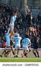 Julien Puricelli of Lyon and Pierre Reynaud of Perpignan during the French championship Top 14 rugby union match between Lyon OU and USA Perpignan on April 13, 2019 at Matmut stadium in Lyon, France