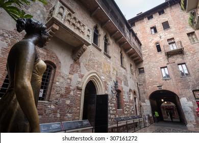 Juliet's balcony and Juliet statue - Verona - Italy