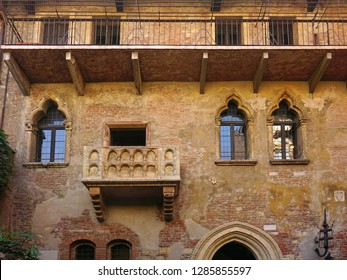 Juliet`s House. Gothic-style 13th century house with a stone balcony which have inspired Shakespeare. Verona, Italy