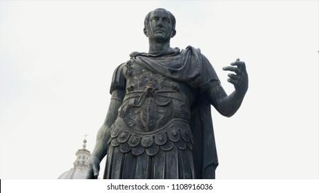 Julius Caesar Statue In Rome Rome, Italy. Stock. Video of a statue of Julius Caesar