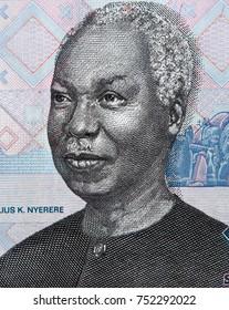 Julius Nyerere face portrait on 1000 Tanzania shilling closeup macro, 1st President of Tanzania.