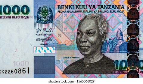 Julius Nyerere, Portrait from Tanzania 1000 Shillings 2003 Banknotes. An Old paper banknote, vintage retro. Famous ancient Banknotes. Collection.