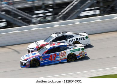 July 01, 2018 - Joliet, Illinois , USA: AJ Allmendinger (47) battles for position during the Overton's 400 at Chicagoland Speedway in Joliet, Illinois .