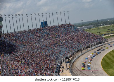 July 01, 2018 - Joliet, Illinois , USA: The Monster Energy NASCAR Cup Series teams take to the track for the Overton's 400 at Chicagoland Speedway in Joliet, Illinois .