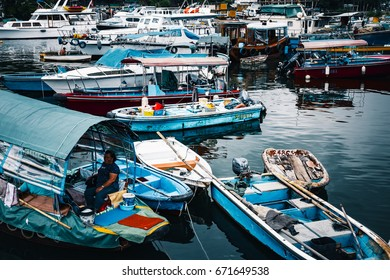 July 02, 2017, Sai Kung, Hong Kong : Fishing boats parked at the Sai Kung Fish Village