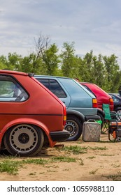 July 05 2014 Volgograd Russia: informal VAG family owners ' festival, a series of classic Volkswagen Golf.
