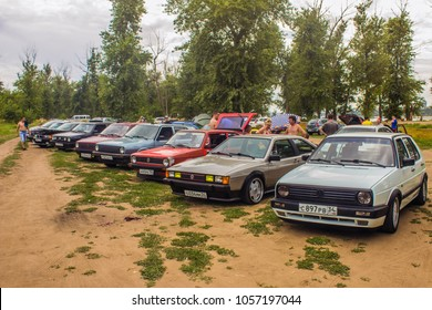July 05 2014 Volgograd Russia: VAG family festival, summer collection of VAG car lovers