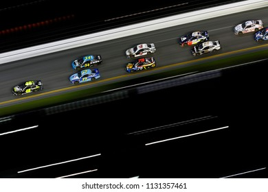 July 07, 2018 - Daytona Beach, Florida, USA: The Monster Energy NASCAR Cup Series races in the pack during the Coke Zero Sugar 400 at Daytona International Speedway in Daytona Beach, Florida.
