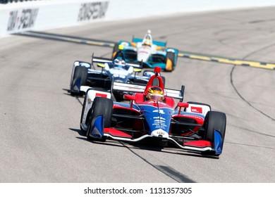 July 07, 2018 - Newton, Iowa, USA: MATHEUS LEIST (4) of Brazil takes to the track to practice for the Iowa Corn 300 at Iowa Speedway in Newton, Iowa.