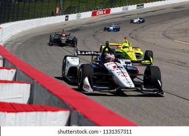 July 07, 2018 - Newton, Iowa, USA: GRAHAM RAHAL (15) of the United States takes to the track to practice for the Iowa Corn 300 at Iowa Speedway in Newton, Iowa.