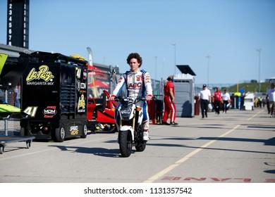 July 07, 2018 - Newton, Iowa, USA: MATHEUS LEIST (4) of Brazil prepares to practice for the Iowa Corn 300 at Iowa Speedway in Newton, Iowa.