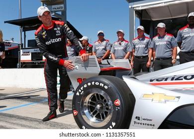 July 07, 2018 - Newton, Iowa, USA: JOSEF NEWGARDEN (1) of the United States wins the pole award for the Iowa Corn 300 at Iowa Speedway in Newton, Iowa.