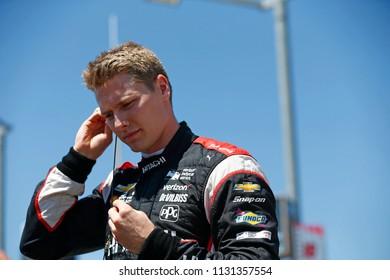 July 07, 2018 - Newton, Iowa, USA: JOSEF NEWGARDEN (1) of the United States prepares to qualify for the Iowa Corn 300 at Iowa Speedway in Newton, Iowa.