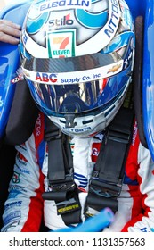 July 07, 2018 - Newton, Iowa, USA: TONY KANAAN (14) of Brazil prepares to qualify for the Iowa Corn 300 at Iowa Speedway in Newton, Iowa.