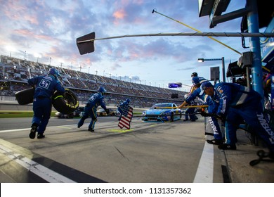 July 08, 2018 - Daytona Beach, Florida, USA: Ricky Stenhouse, Jr (17) makes a pit stop during the Coke Zero Sugar 400 at Daytona International Speedway in Daytona Beach, Florida.