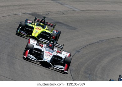 July 08, 2018 - Newton, Iowa, USA: MARCO ANDRETTI (98) of the United States battles for position during the Iowa Corn 300 at Iowa Speedway in Newton, Iowa.