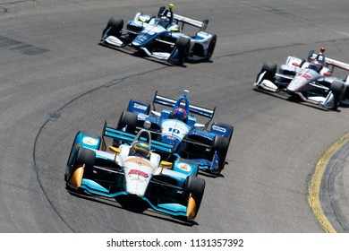 July 08, 2018 - Newton, Iowa, USA: GABBY CHAVES (88) of Colombia battles for position during the Iowa Corn 300 at Iowa Speedway in Newton, Iowa.
