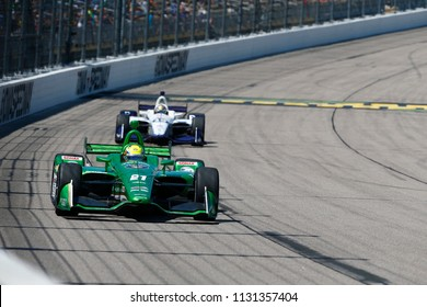 July 08, 2018 - Newton, Iowa, USA: SPENCER PIGOT (21) of the United State battles for position during the Iowa Corn 300 at Iowa Speedway in Newton, Iowa.