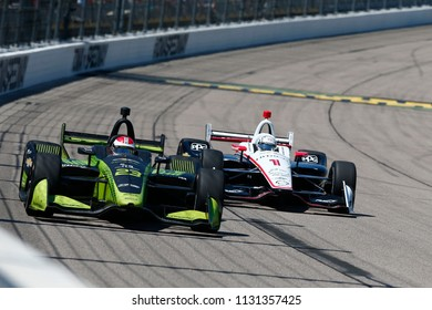 July 08, 2018 - Newton, Iowa, USA: CHARLIE KIMBALL (23) of the United States battles for position during the Iowa Corn 300 at Iowa Speedway in Newton, Iowa.