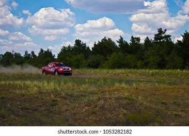 JULY 09 2012. Volgograd, Russia :Sports a specially prepared Sports car over the difficult part of the route during the Silk Way rally a dirt road