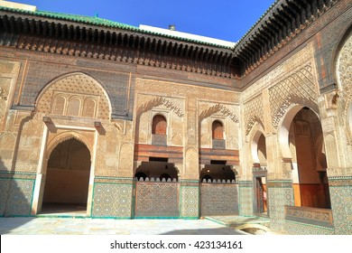 JULY 09, 2015: Interior walls of the Bou Inania Madrasa in Fes, Morocco