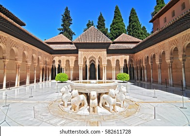 July 1, 2014 The Alhambra, Granada, Andalucia, Spain. Patio de los Leones (Patio of the Lions) in the Palacios Nazaries.
