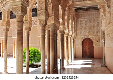 July 1, 2014. Moorish architecture of the Court of the Lions, the Alhambra, Granada, Andalucia (Andalusia), Spain, Europe.