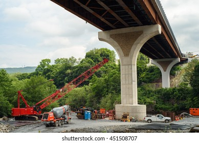 July 1, 2016: The Jim Thorpe Memorial Bridge construction site in Jim Thorpe, Pennsylvania, USA.
