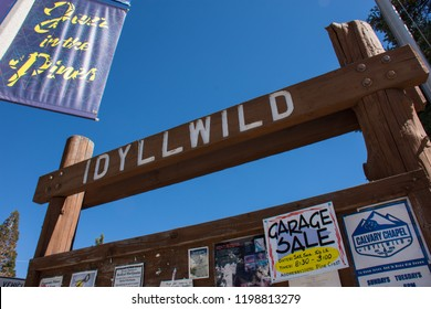 JULY 1 2017 - IDYLLWILD, CA: Welcome to Idyllwild California sign, in the small mountain town in the San Jacinto Mountains