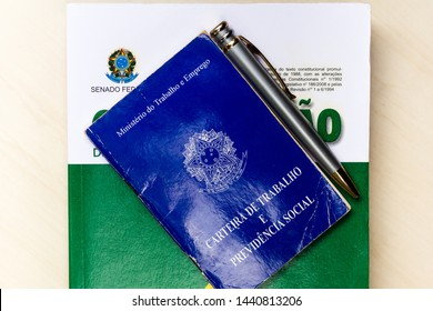 July 1, 2019, Brazil. Photo shows the Constitution of the Federative Republic of Brazil and the working document and social security (Carteira de Trabalho e Previdencia Social).