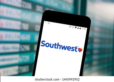July 1, 2019, Brazil. In this photo illustration the Southwest Airlines logo is displayed on a smartphone.