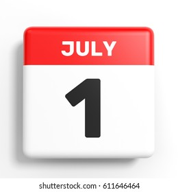 July 1. Calendar on white background. 3D illustration.