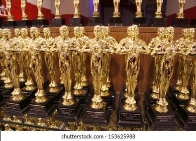 """JULY 10, 2008 - BERLIN: Oscar figurines - official opening of the waxworks """"Madame Tussauds"""", Unter den Linden, Berlin."""